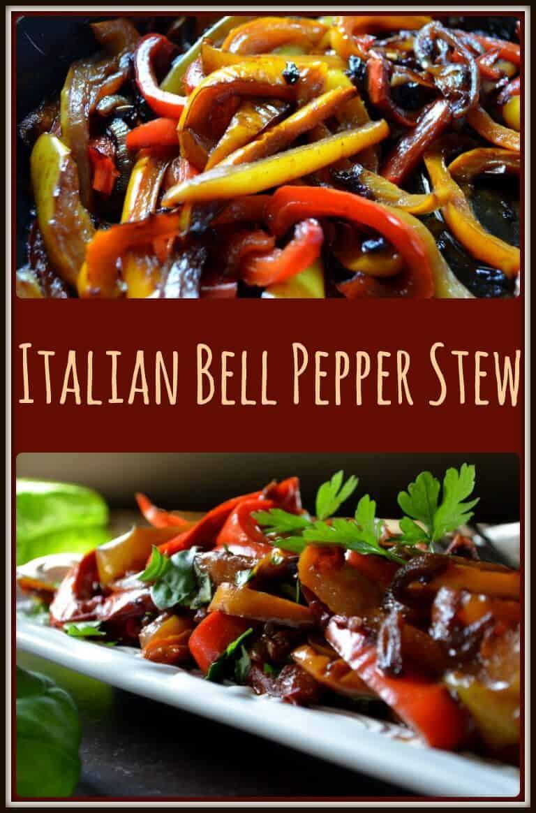 A close up view of Italian Bell Pepper Stew Recipe (Peperonata)