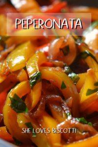 A close up shot of peperonata aka Italian bell pepper stew.