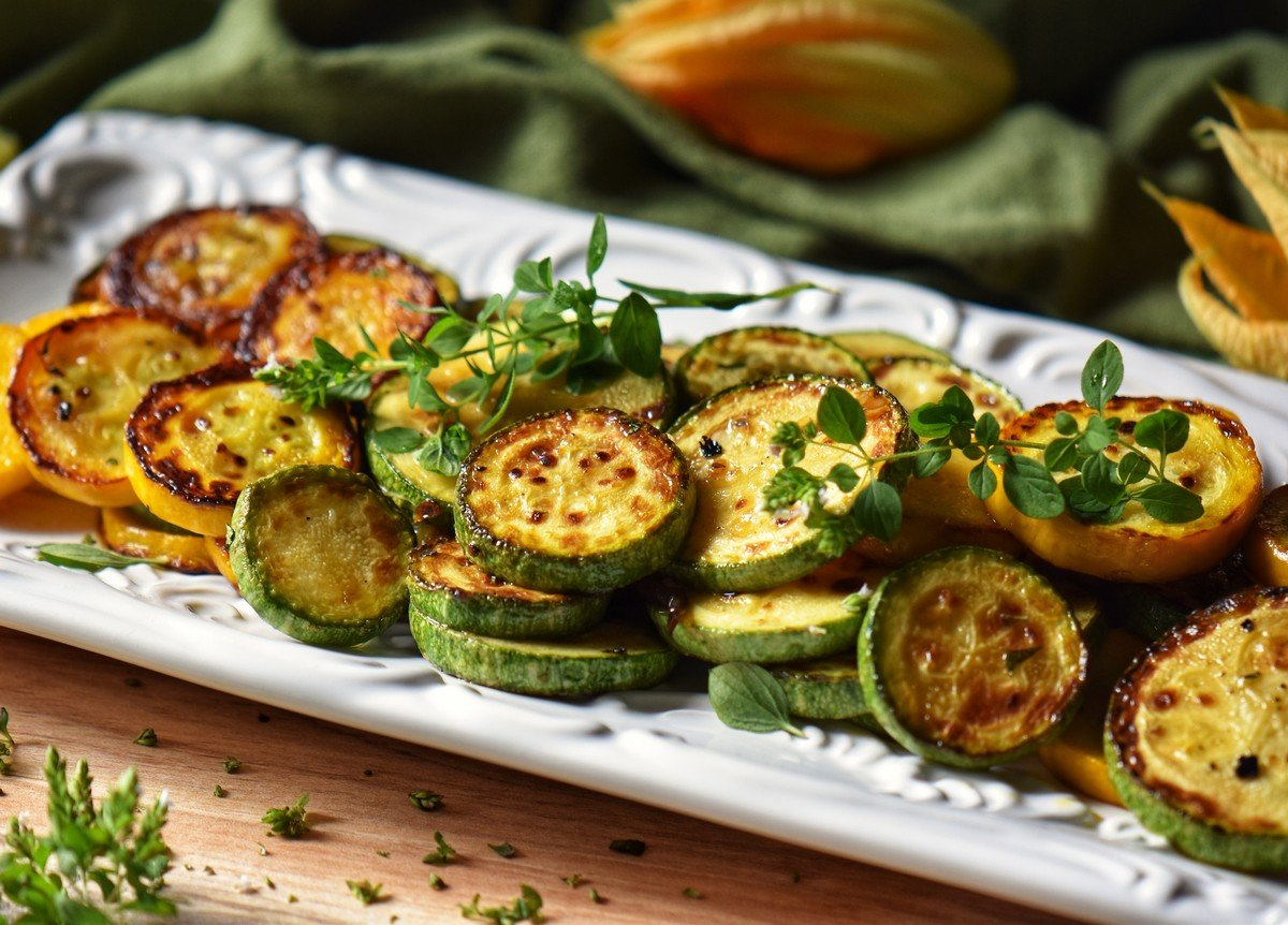Italain zucchini on a serving tray.