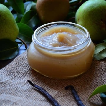 Vanilla Pear butter portioned in a jar.