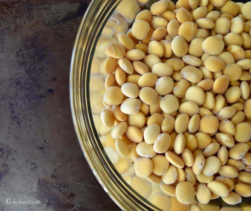 Italian Lupini Beans being soaked.