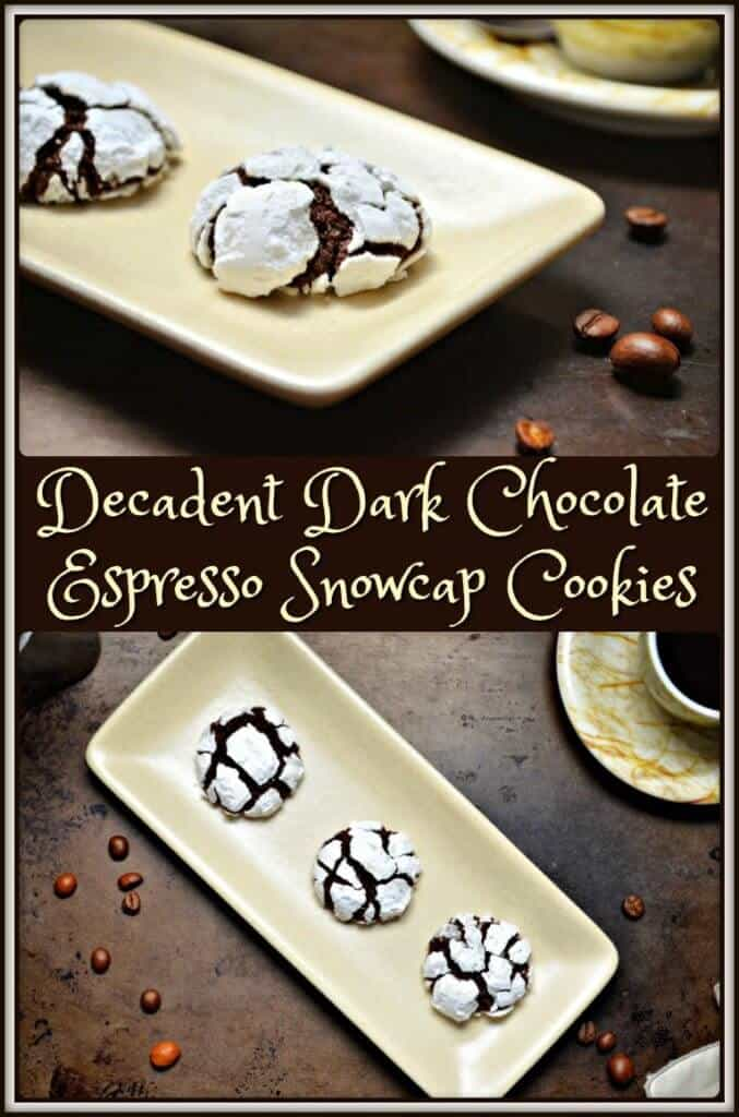Decadent Dark Chocolate Espresso Snowcap Cookies