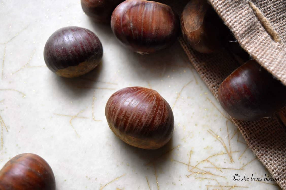 A few glossy looking chestnuts before being roasted.