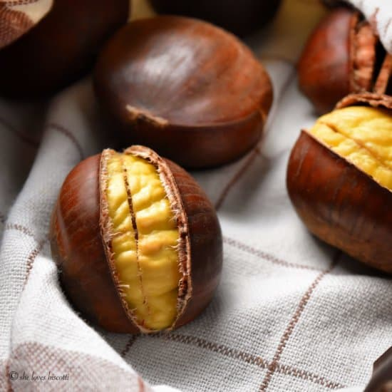 Chestnuts about to be wrapped in a tea towel.
