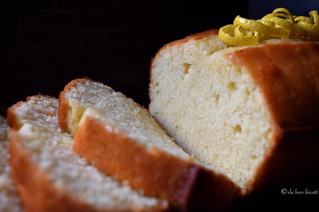 Close up of a sliced Lemon Loaf.