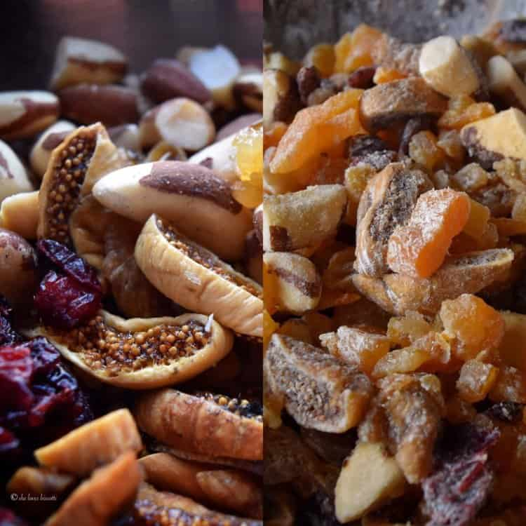 Micture of dried nuts and seeds are shown with and without the dry mixture.