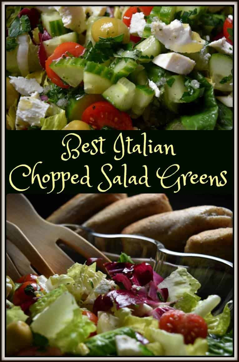 Best Italian Chopped Salad Greens in a bowl and close up.