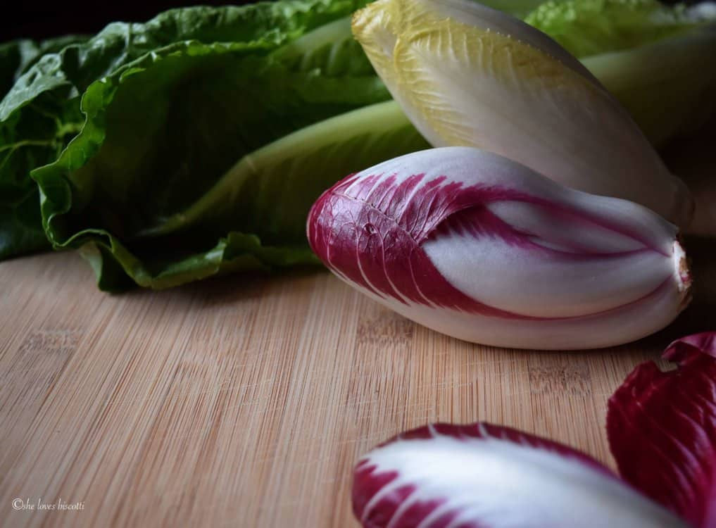 Endive salad ready to be chopped up.