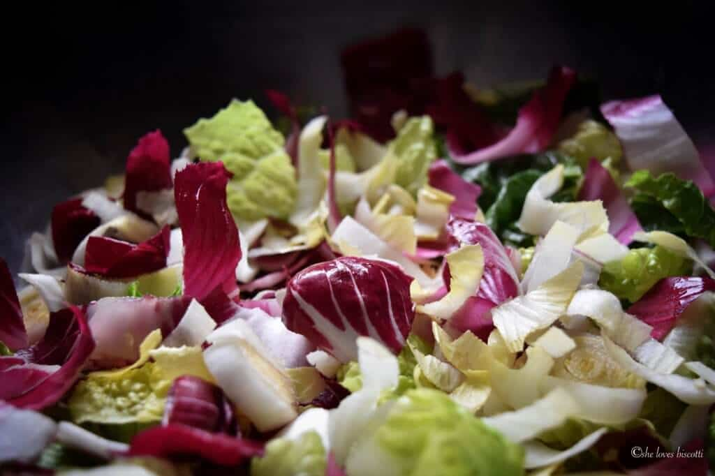 Chopped up endive salad in a bowl.