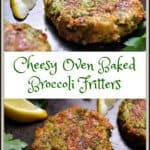 A photo collage of broccoli fritters.