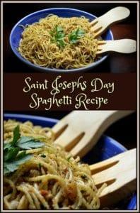 A photo collage of Saint Josephs Day Spaghetti.