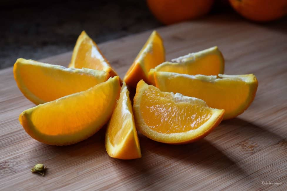 A perfectly cut up orange.