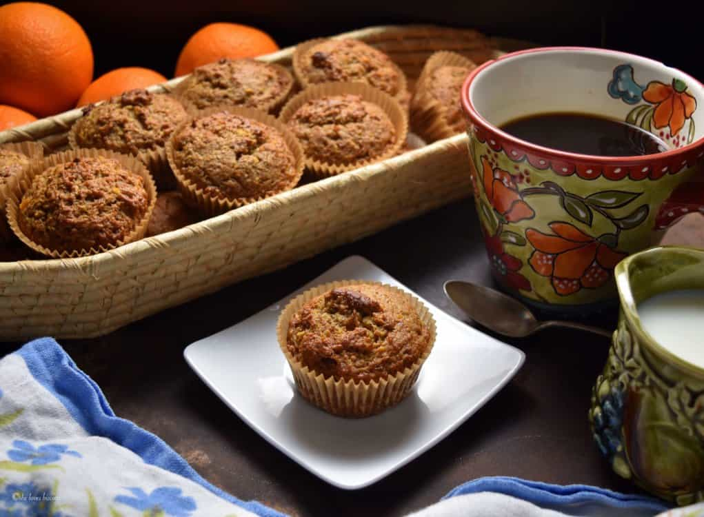 A basket of Easy Whole Grain Orange Date Muffins.