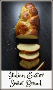 A sliced loaf of Italian Easter Bread.