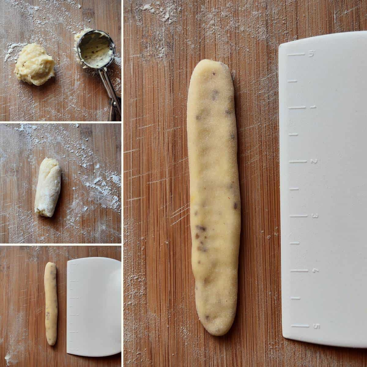 A photo collage of the Italian Anise Cookies being shaped.