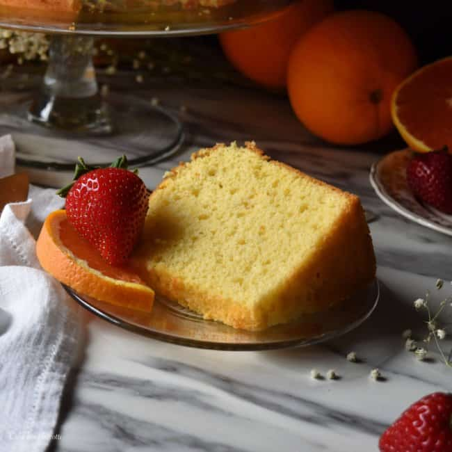 A slice of Orange Chiffon Cake.