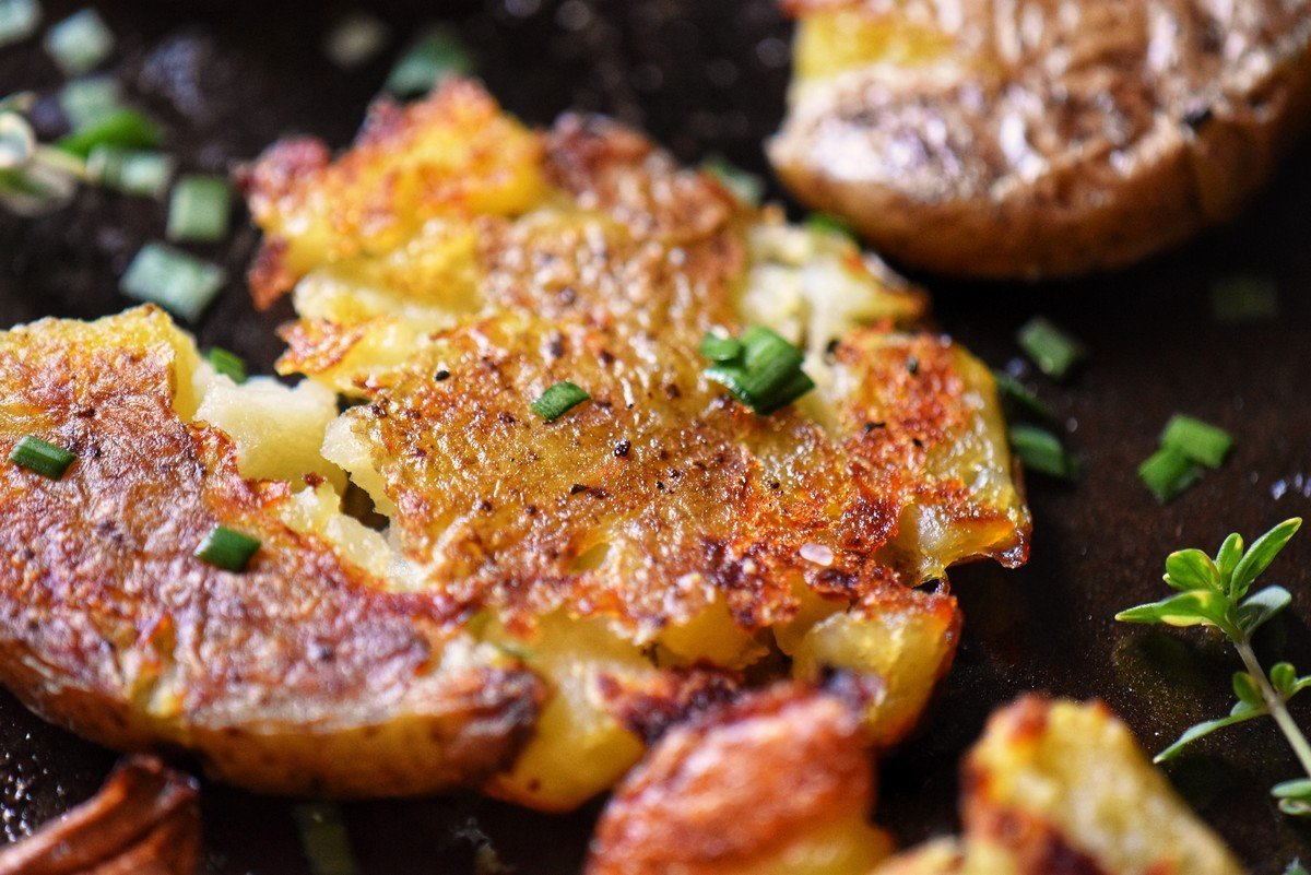 Crispy potatoes on a sheet pan.