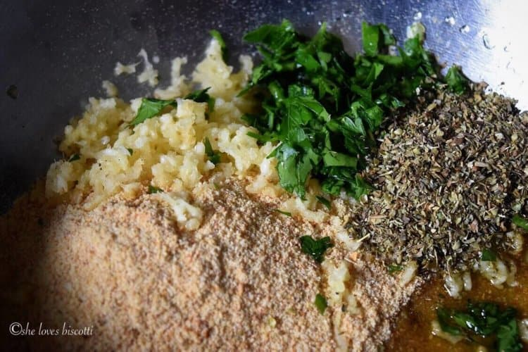 Herbs and spices required to make the crust for the codfish include bread crumbs, garlic, Italian flat leaf parsley, dried oregano and of course some extra virgin olive oil.