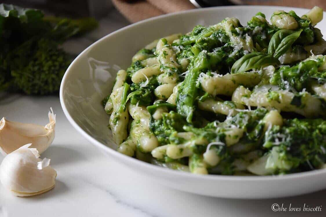 A plate of Homemade Italian Broccoli Rabe Cavatelli Pasta