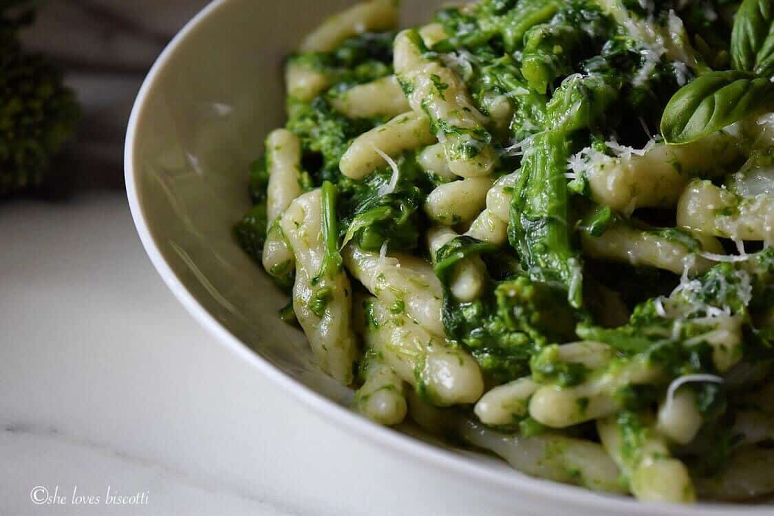 A close up picture of Homemade Italian Broccoli Rabe Cavatelli Pasta