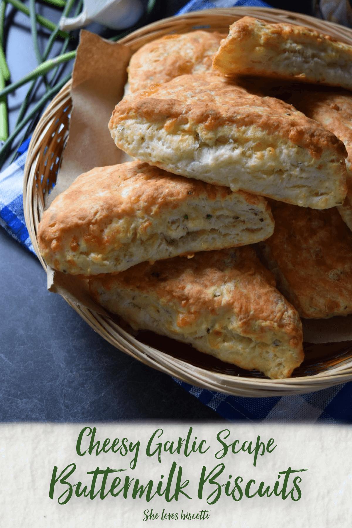Fluffy Garlic Scape Buttermilk Cheese Biscuits
