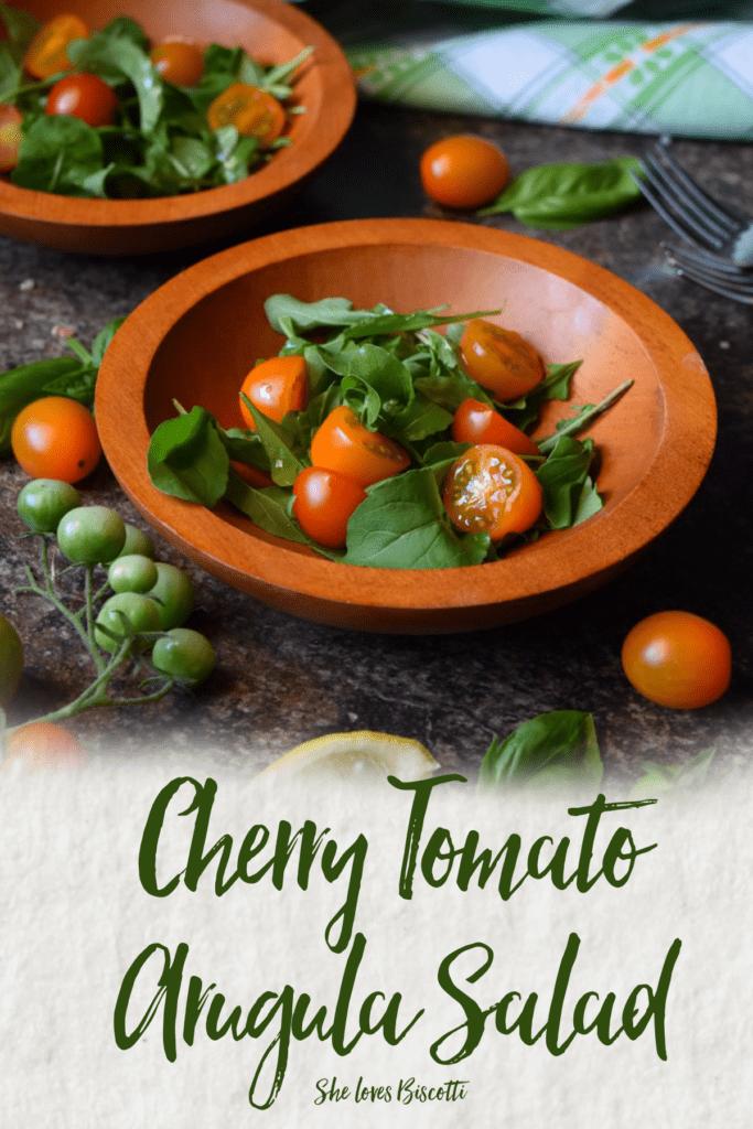 A bowl of Easy Garden Fresh Cherry Tomato Arugula Salad