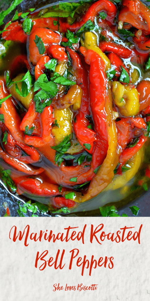 A close up of the beautiful colors of the Marinated Roasted Bell Peppers