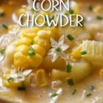 Hearty potato corn chowder in a bowl.