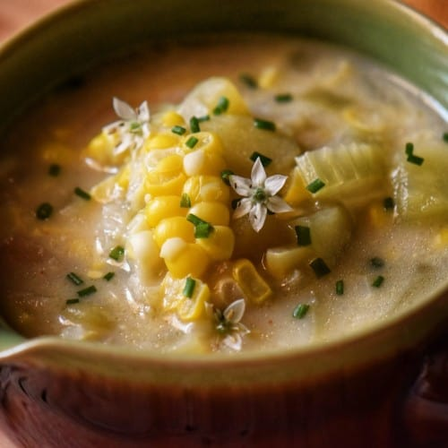 Hearty potato corn chowder in a bowl.