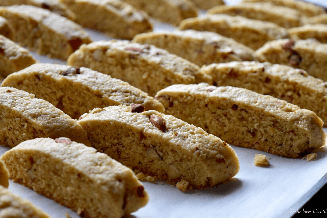 Rows of sliced Almond Biscotti.