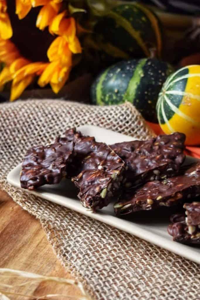 Dark chocolate bark with pumpkin seeds on a white ceramic dish.