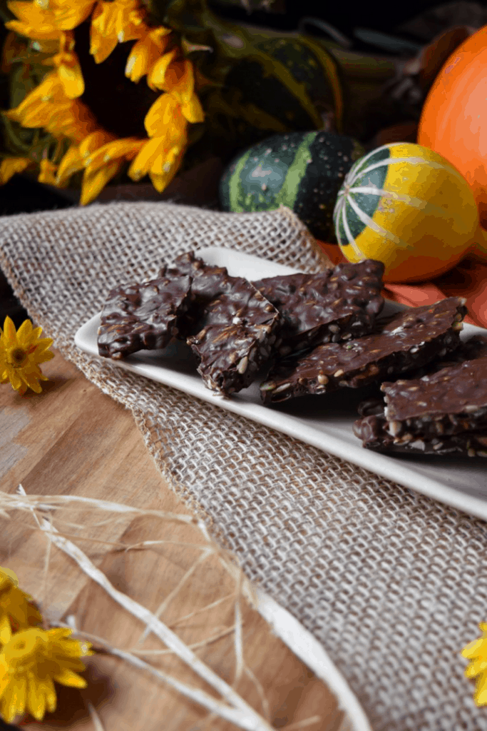 A small tray of Dark Chocolate Nut Bark pieces.