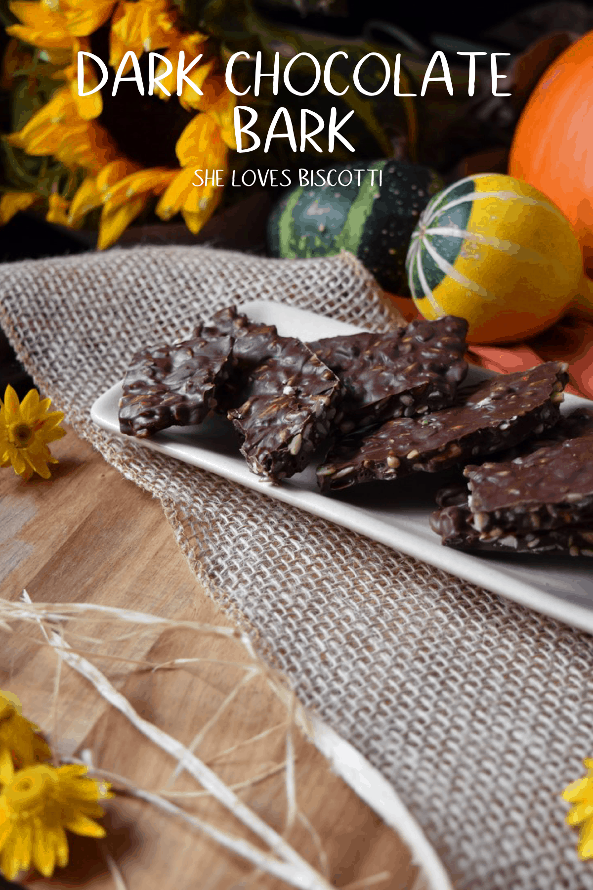 Dark Chocolate Nut Bark -make your own healthy homemade version  in less than 30 minutes. #shelovesbiscotti #darkchocolate #chocolatebark #nutbark #darkchocolatebark