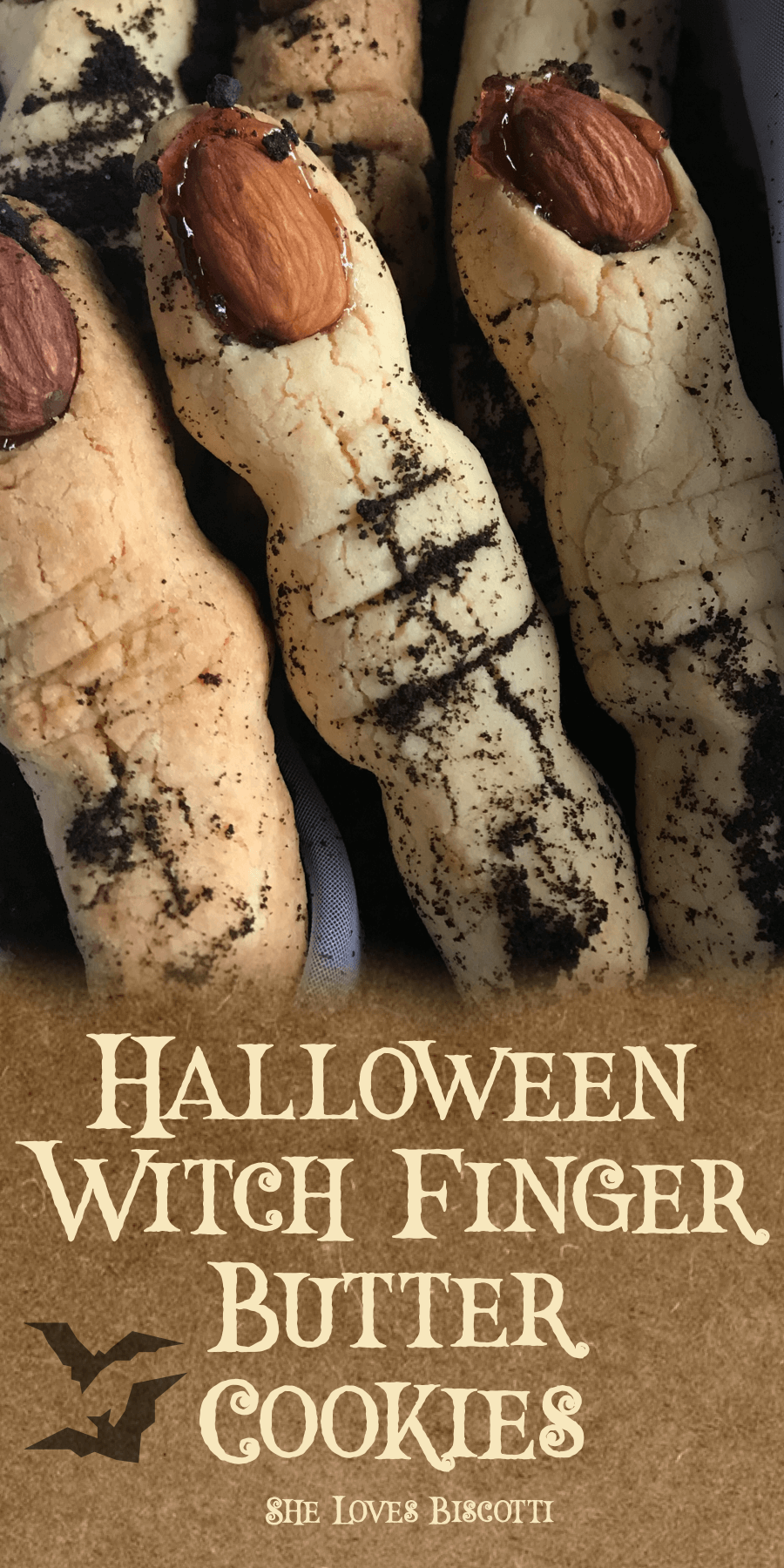 Halloween Witch Finger Butter Cookies || vegetarian || This butter cookie recipe originates from Burano, Italy. #buttercookie #Halloween #Halloweencookie #witchcookie #spookycookie