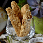 Close up picture of Almond Biscotti in a glass.