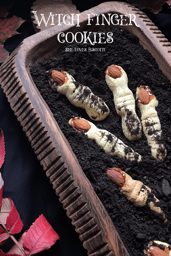 Halloween Witch Finger Butter Cookies: It's so much fun to shape these witch cookies from a cookie dough that comes together so easily. Come and take a look at what is used to make the