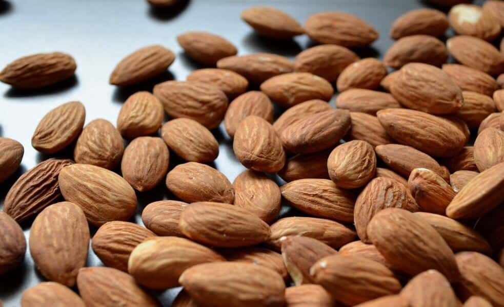 A close up of almonds with their skin.
