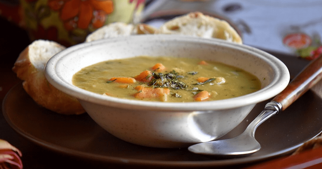 A bowl of Simple Slow Cooker Vegetarian Green Split Pea Soup