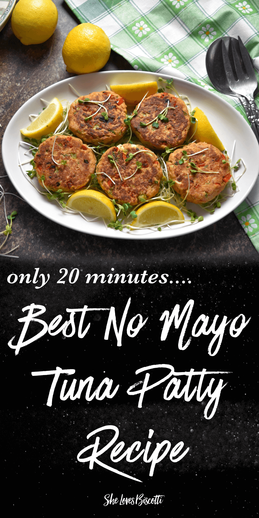 Best No Mayo Tuna Patty Recipe shown on a white serving platter.
