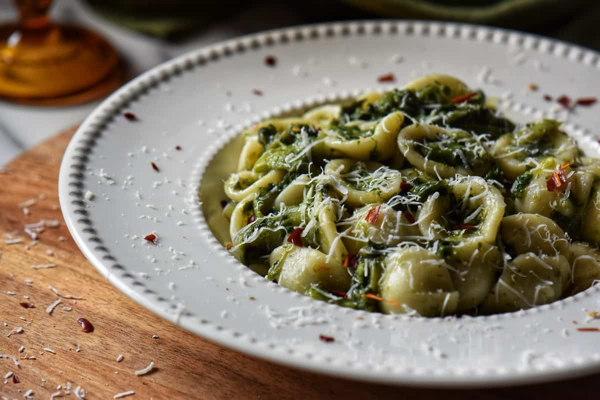 Broccoli Rabe pasta in a white plate.