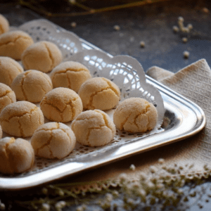 A tray with Soft Amaretti Cookies