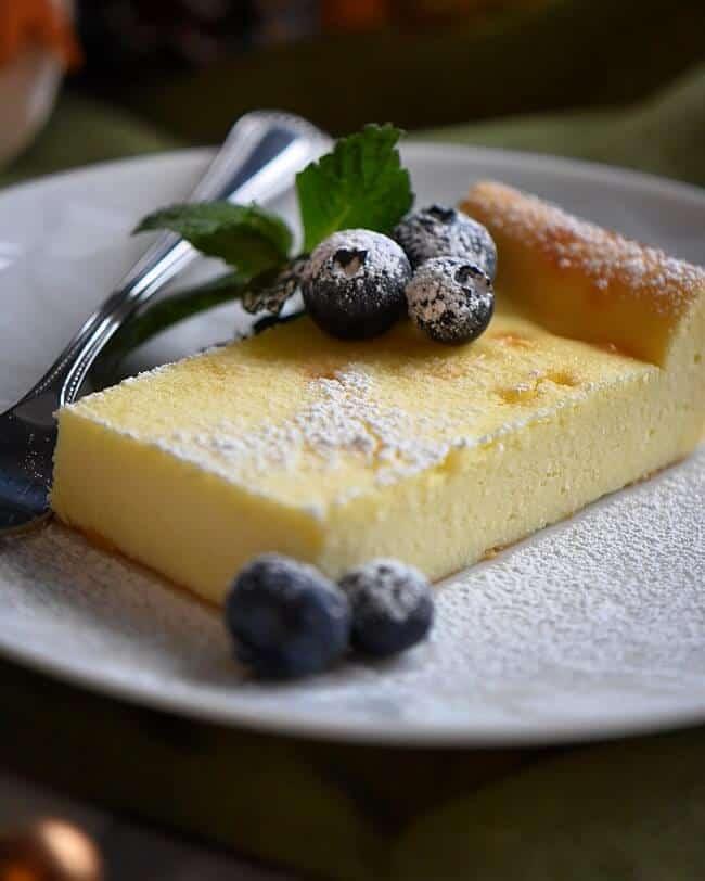Plated Creamy Limoncello Italian Ricotta Cake Recipe.