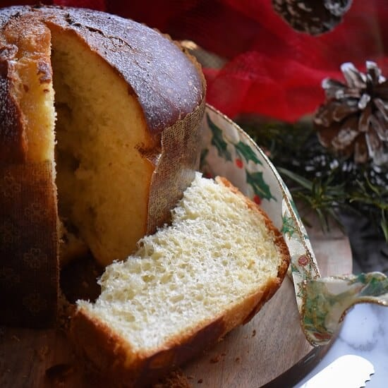 A slice of Zia Michelinas Panettone.