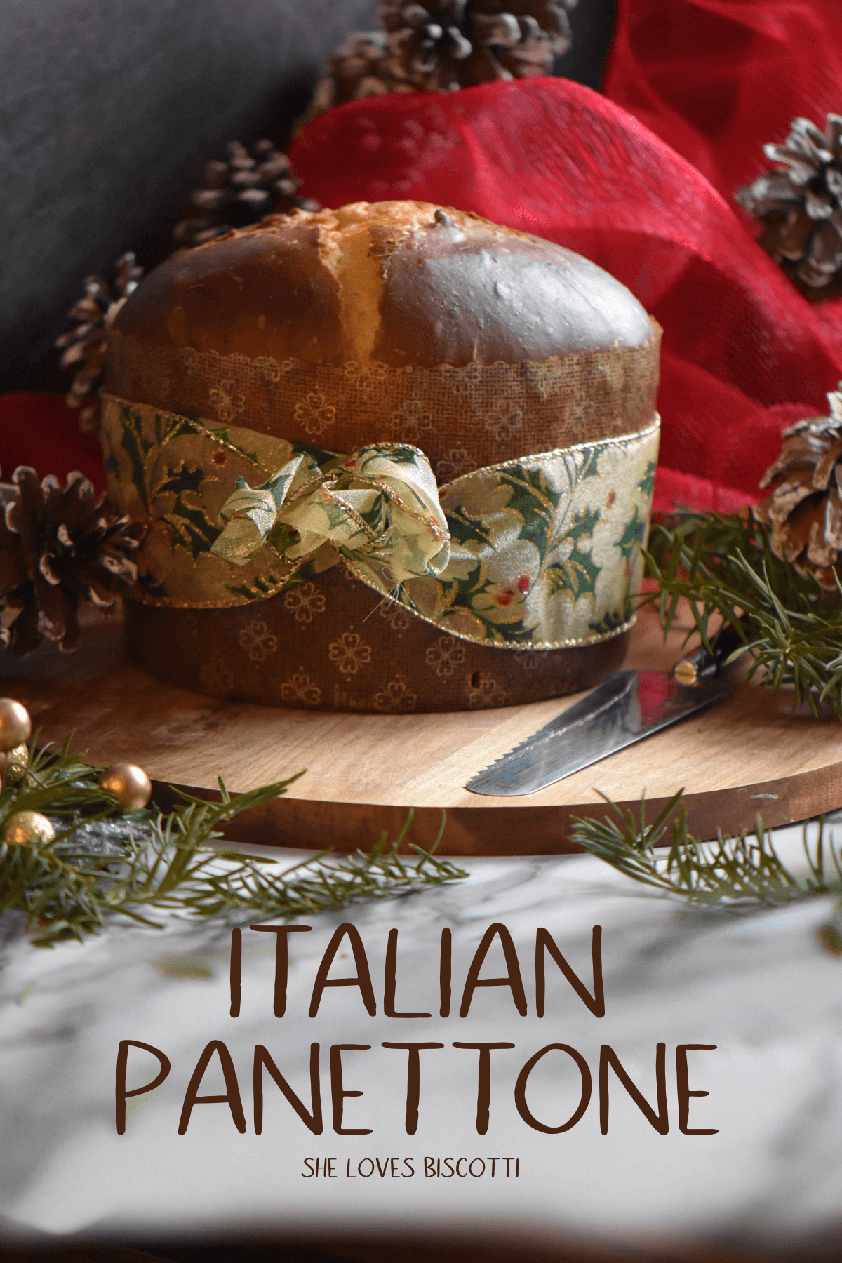 Zia Michelinas Panettone wrapped with a ribbon.