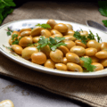 Italian Lupini Beans ready to be served,in a plate.