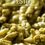 A creamy avocado pesto sauce with cavatelli in a pan.