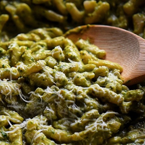 A plate of Avocado Pesto Cavatelli Pasta.