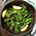 Easy Garlicky Sauteed Broccolini in a pan.