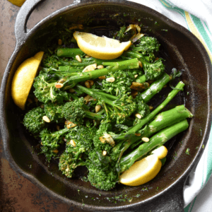 Sauteed Broccolini in a pan.