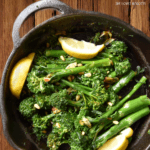 A large pan of broccolini.